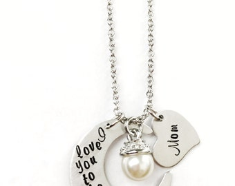 i love you to the moon and back | personalized hand stamped necklace | mom necklace
