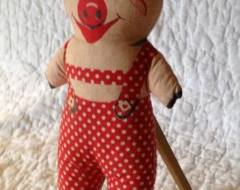 Printed Fabric Stuffed Animal - Pig