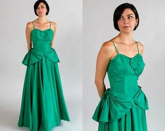 Vintage 1950s Prom Dress/Green Taffeta Bridesmaid Dress