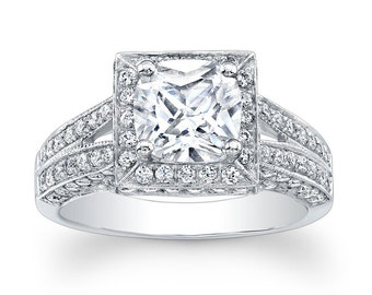 Princess Cut Diamond Halo Cathedral Semi Mount Ring (No Center)