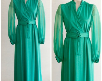 1970s full length belted dress with sheer long sleeves SIZE 12