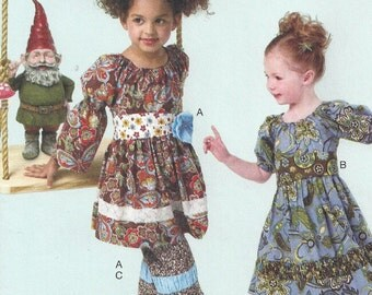 Boho Peasant Dress, Capris, Belts, Ruffles, Puffed Sleeves, Ruffles and Lace, Easy McCalls 6594, Size CL 6 7 8, Sewing Pattern, Girls, Uncut