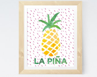 Tropical Pineapple Print Bohemian Art 'La Piña' Fruity Print Bohemian Wall Art Decor Pineapple Wall Art Fruit Art Tropical Print Yellow Pink