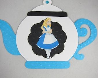 Set of 12 Tea Party Invitations, Tea pot Alice in Wonderland Inviatations