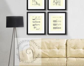 Bathroom Decor posters set of 4 cream wall Art. Retro Bathroom Art Toothbrush Hairbrush Hair Dryer Shaving Razor Patent Art Prints