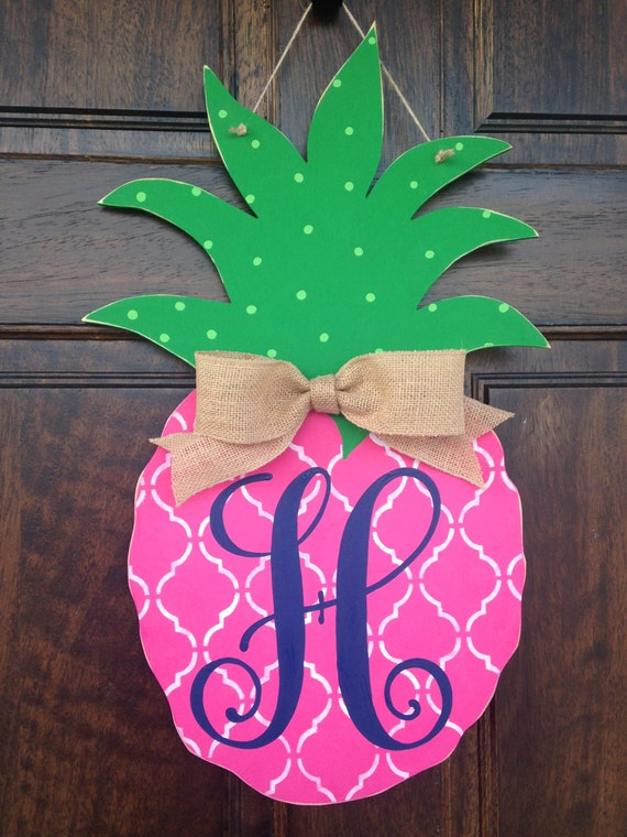 Items Similar To Pink Pineapple Hand Painted Wooden Door