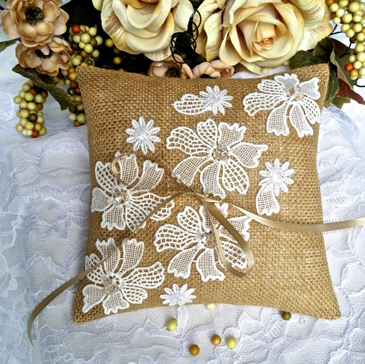 Ring pillow Ring bearer pillow Burlap ring pillow Burlap