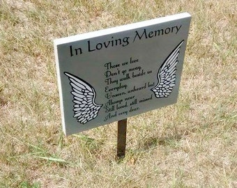 Angel Memorial Sign, Angel Wings Memorial, Custom Memorial Sign, Custom Grave Marker, Angel Wings Grave Sign, Black and Gray Grave Decor,