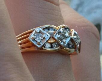 Unique gold and diamond ring