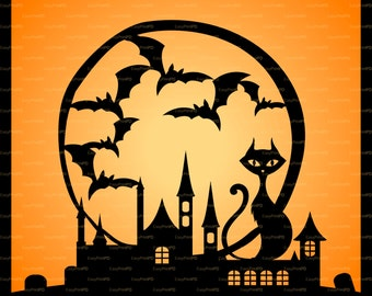 Halloween Cutting File Card Glass Block silhouette (eps, svg, dxf, ai, jpg, png) Vector Digital ClipArt Wall Decor Decal Vinyl Cutting File