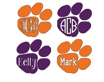 Clemson Logo Tiger Paw Print With/WIthout Personalization/Monogram