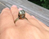 Pyrite Cube Brass Ring // Fools Gold