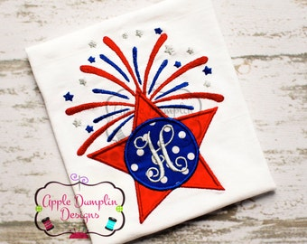 Monogram 4th of July Star Appliqué Machine Embroidery Design, Fireworks, Boy, Girl, Star, American, America, Summer, Spring,