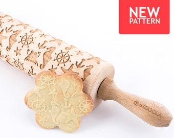 Marine - geprägte, gravierte Nudelholz für Cookies