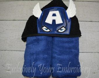 American Hero Children's Hooded Towel - Baby Towel - Childrens Hood Towel - Bath Towel - Beach Towel - Personalized Towel - Character Towel