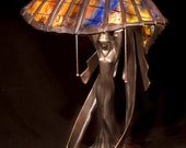 Tiffany table lamp Flying Lady. Big table stained glass lamp. Classic Tiffany style table lamp with decorative base.