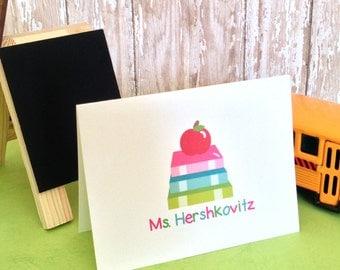 Teacher Stationery - Teacher Notecards - Personalized Teacher Stationery Set - Bookworm - Teacher Gift - Teacher Appreciation