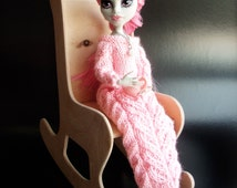 "PDF Pattern - High Fashion Monster Doll Clothes. Warm Knitted Maxi Dress ""Rose Evening"" (1/6 Scale)"