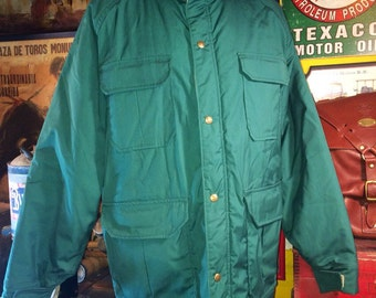 Vintage 1970's Woolrich 60/40 Outdoors Green Spruce Parka Style Jacket Coat Men's large Regular--Made in the USA.