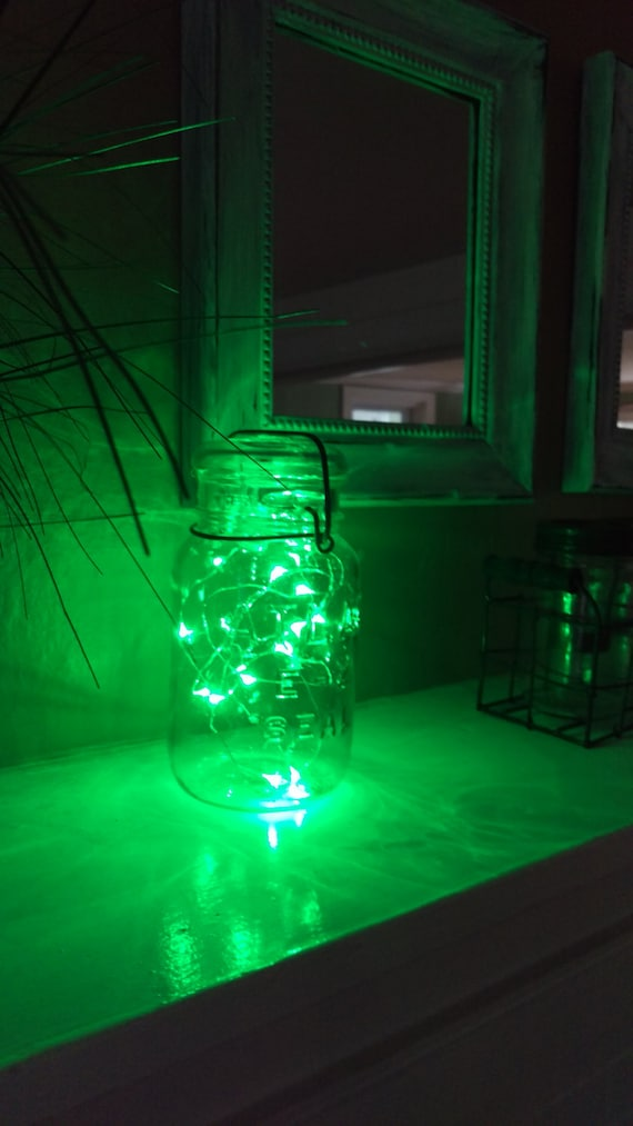Items similar to Indoor Outdoor Vintage Mason Jar Battery Operated GREEN Fairy String Light for ...