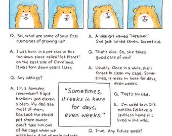 Hamster Art Print, Funny Hamster, Funny Animal Print, Pet Humor, Hamster Gift, Guinea Pig, Hamster Humor, Hamster Cartoon, Hamster Art