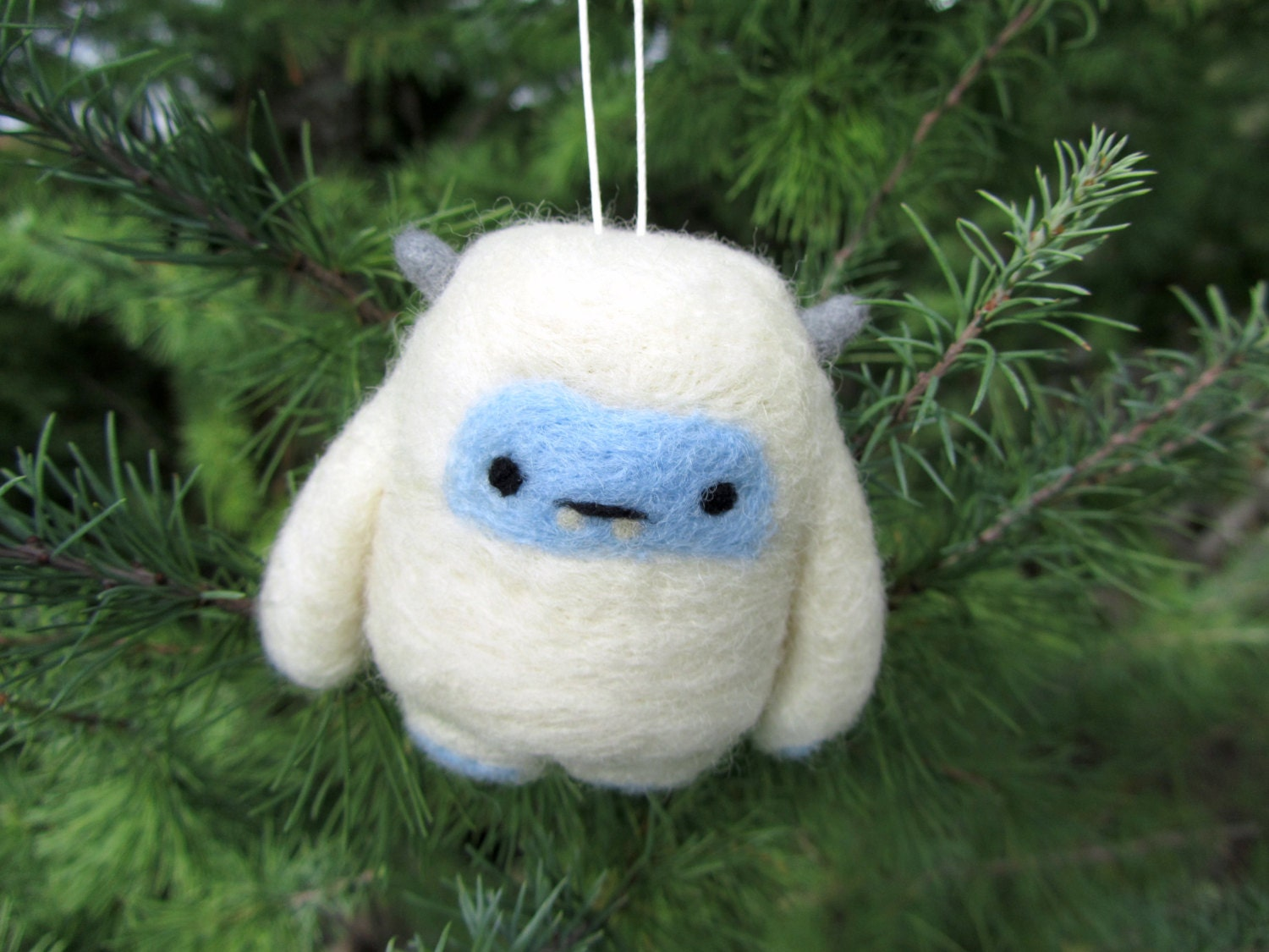 Needle Felted Yeti Ornament Abominable Snowman Christmas