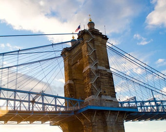 Suspension bridge photograph, urban sunset, warm and cold art, orange and blue art, urban winter, Roebling Bridge art print, urban sunset,
