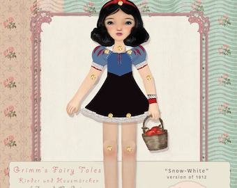 Snow White Paper toy plus traditional fairy tale,Kids' Craft set,paper dolls,princess