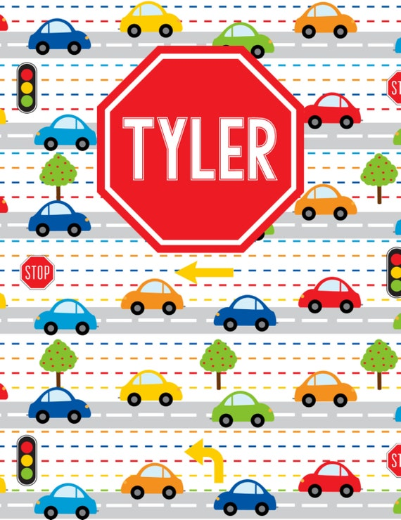 Boy:  Traffic Personalized Notebook