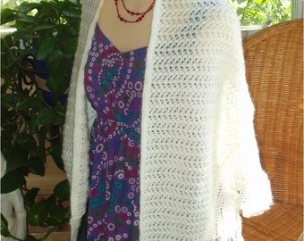 Handknitted Acrylic/Mohair Lace Shawl