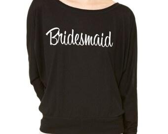 Bridesmaid dolman shirt. Slouchy Bridesmaid shirt. Flowy Bridal Party Shirt. Long Sleeve Wedding Shirts. Bride Shirt. Bachelorette Shirts.