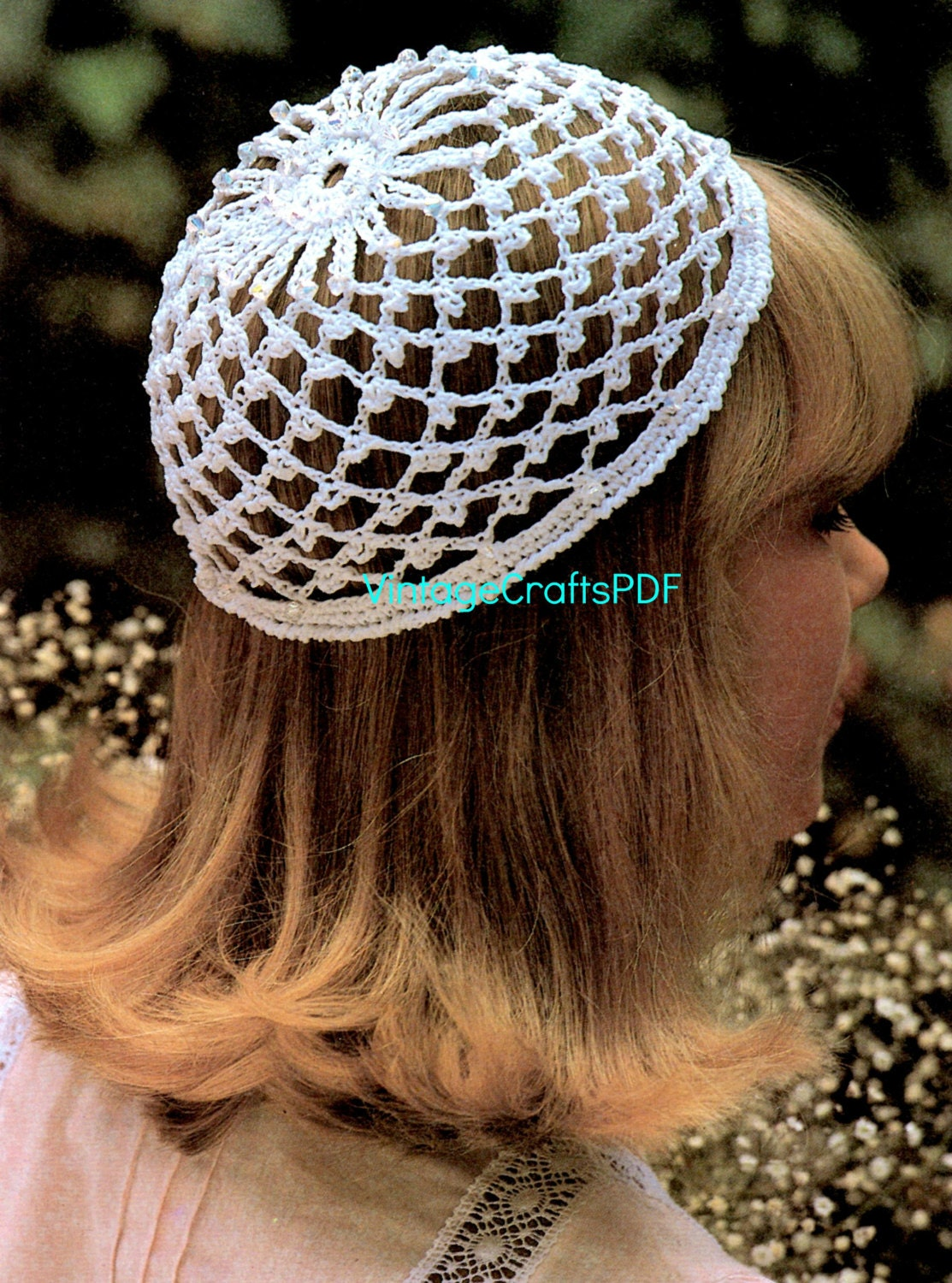 1970s Wedding Cap w Glass Beads-Beanie-Snood Cap-Juliet ...