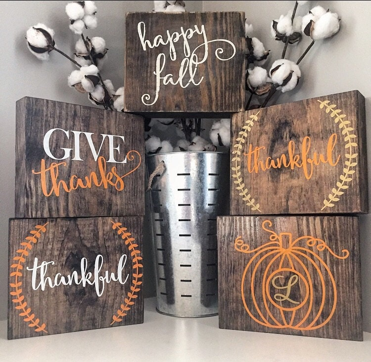 Fall Wood Block Set Fall Sign Thanksgiving By