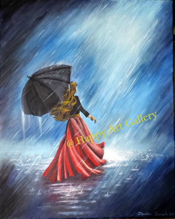 im regen mädchen mit regenschirm im von happyartgallery