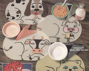 Plastic Canvas Quick & Easy Place Mats Patterns - Plastic Canvas Patterns for Home Decor Accessories - Plastic Canvas Pattern Leaflet