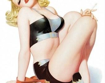 "Vintage Pinup Art Girl // ""Cigarette Girl"" by Enoch Bolles // 8""x10"" Printable Digital Download // Easy to Shrink"