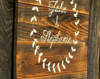 "Reclaimed Custom Wood Handpainted Wedding Sign With Laurel Wreath 18""x24"" // Bridal Shower // Wedding Decor // Home Decor //"