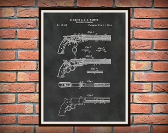 1854 Smith and Wesson Pistol Patent Magazine Firearm Patent Print - Western Fire Arm - Cowboy Art - Gun Shop Wall Art - Old West Six Shooter