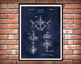 Patent 1941 Ship Steering Wheel - Art Print - Poster - Boat - Ship - Nautical Wall Art - Marina - Navy Art - Sailor Gift