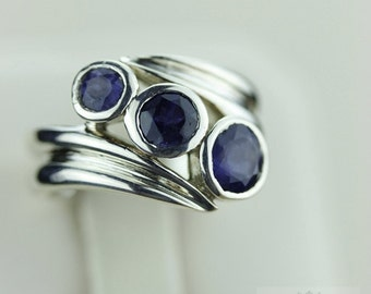 Size 5 IOLITE SPIRAL SETTING (Nickel Free) 925 Fine S0LID Sterling Silver Ring & Free Worldwide Express Shipping r1236
