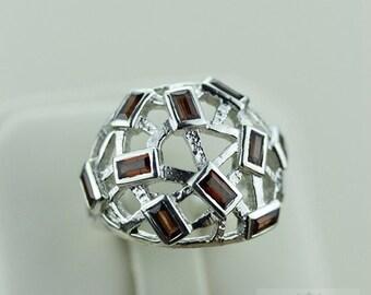 SIZE 7 WIREWORK GARNET (Nickel Free) 925 Fine S0LID Sterling Silver Ring & Free Worldwide Express Shipping r1453