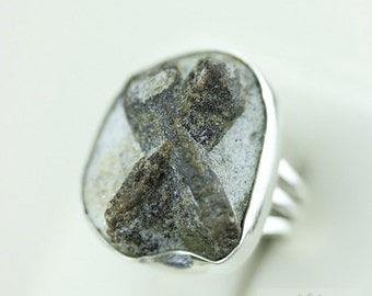 Size 6.5 STAUROLITE FAIRY Cross JESUS Stone (Nickel Free) 925 Fine S0LID Sterling Silver Ring & Free Worldwide Shipping r1498