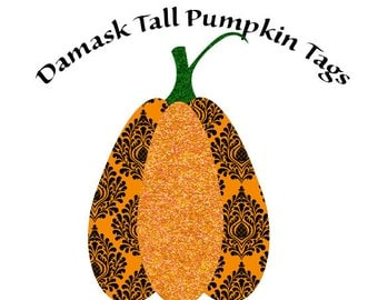 Pumpkin Tags, Damask Pumpkins, Damask Pumpkin Tags, Glittered Pumpkins, Printable Tags, Instant Download, Gift Tags, Fall Decor, Halloween
