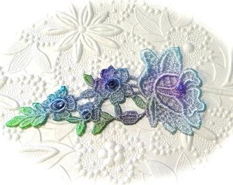 Lace Applique Hand Dyed Lace Applique Floral Applique BA-134