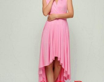 Convertible dress, Pink infinity dress, Short convertible dress, High Low bridesmaid dresses, convetible wrap dress
