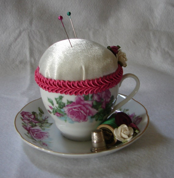 Teacup Pincushion,Repurposed Teacup Pincushion,Teacup With Roses,Christmas Gift For Sewer,Sewing Room Decor