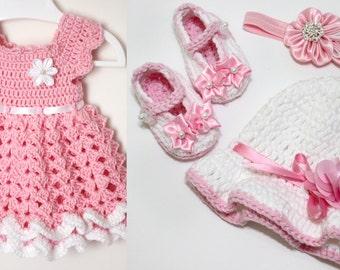 Baby girl crochet dress set - newborn to 24 Months size
