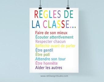 Regles de la Classe, French Print, Classroom Poster, Cadre, Wall Art, Classroom Wall Decor, Instant Download, Classroom Print, DT46