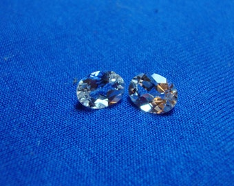 White Zircon Oval Cut Faceted Gemstone Pair (2) Ready For Setting-Measure 8 x 6 mm Each-TCW 3.00 Carats