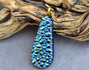 fused glass dichroic pendant, green, blue, gold, silver,  teardrop shape sparkle and dazzle, handmade, kiln fired